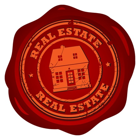 Wax seal with the text Real Estate written inside the stamp Vector