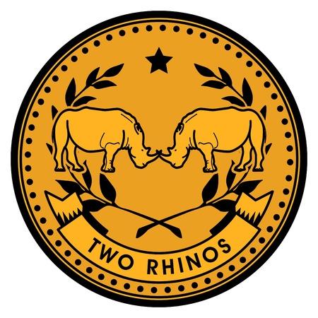 Rhinos coin Vector
