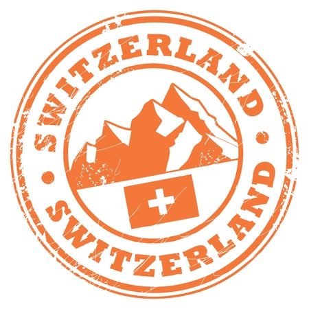 Grunge rubber stamp with the mountains and flag of Switzerland Vector