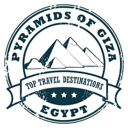 pyramid egypt: Grunge rubber stamp with Pyramids of Giza Wall