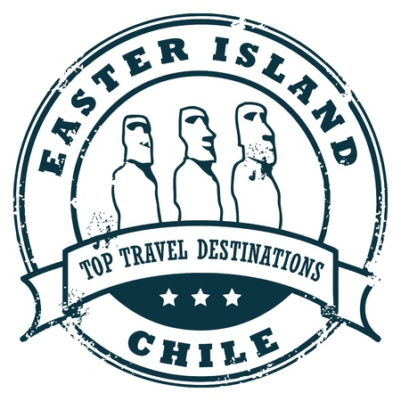 travel destination: Grunge rubber stamp with the Stone Statues