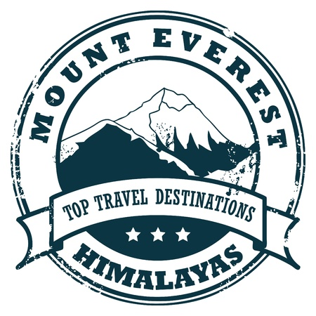Grunge rubber stamp with the Mount Everest Vector