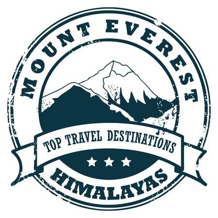 mount everest: Grunge Stempel mit dem Mount Everest