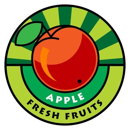 apple border: Fruit label, apple
