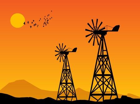 pylon: Wind Power Turbines and sunrise