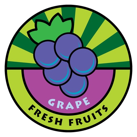 grape juice: Fruit label, grape, vector illustration Illustration