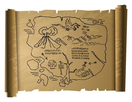 isla del tesoro: Antiguo mapa del tesoro Vectores