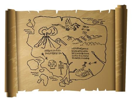 mappa del tesoro: Antique mappa del tesoro