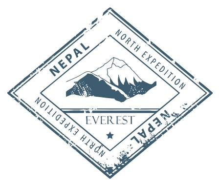 everest: Grunge rubber stamp with word Nepal inside