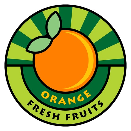 Fruit label, orange Stock Vector - 14369050