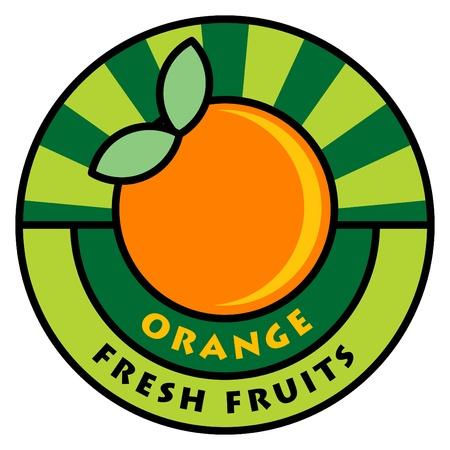 Fruit label, orange Stock Vector - 14369050