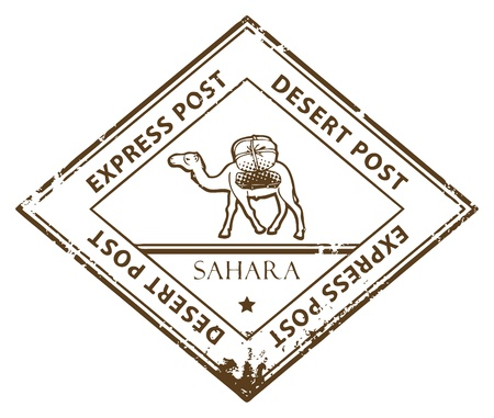 camel post: Grunge rubber stamp with Camel and the text Desert Post