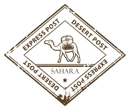 desierto del sahara: Grunge sello de caucho con Camel y el mensaje de texto del Desierto Vectores