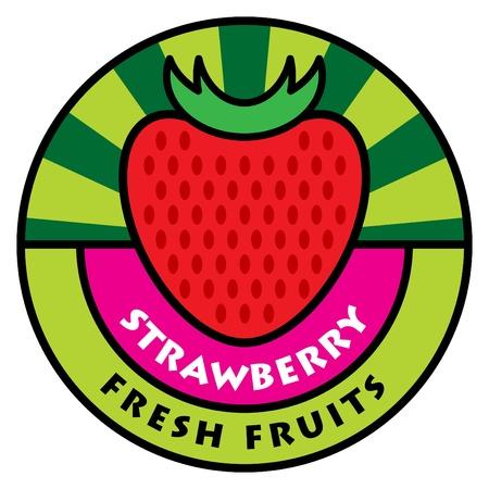Fruit label, strawberry Vector