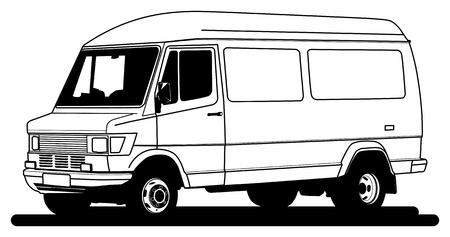 ton: Delivery van hand draw illustration