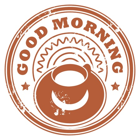 Grunge stamp with coffee cup and the text Good Morning written inside the stamp Vector