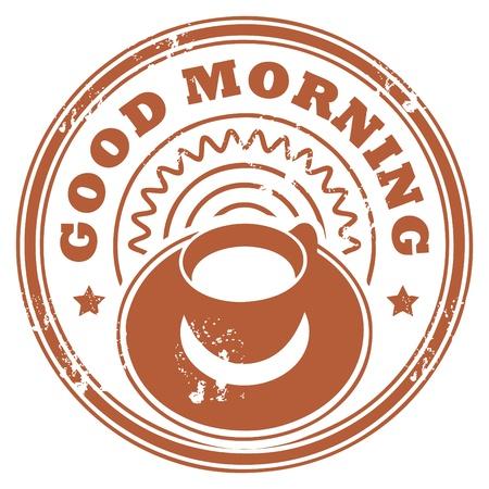 Grunge stempel met koffie beker en de tekst Good Morning geschreven in de stempel Vector Illustratie