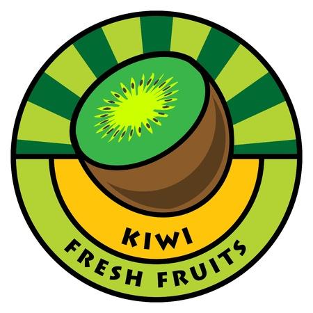 Fruit label, kiwi Stock Vector - 14410715