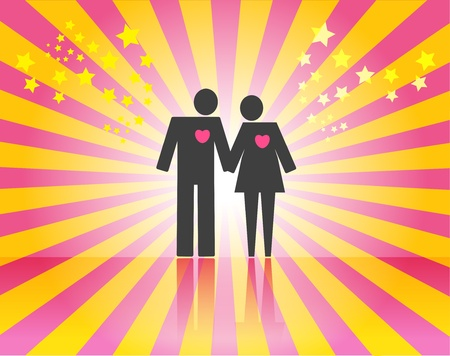honeymoon couple: Couple on pink ray background with space for text