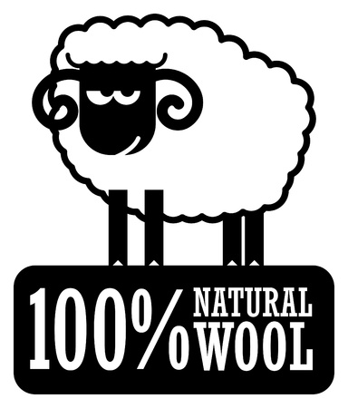 Abstract label with small sheep and the words 100  Natural Wool Vector