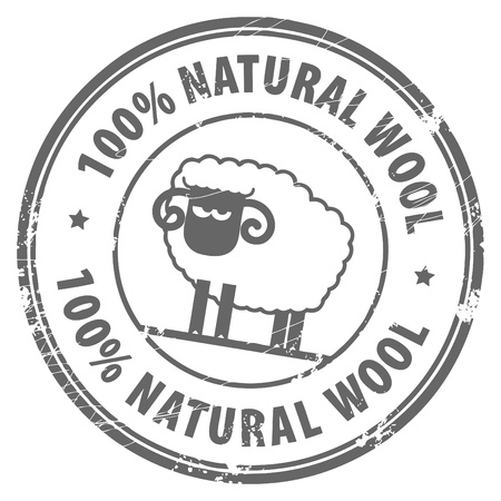 baa: Abstract grunge rubber stamp with small sheep and the words 100  Natural Wool written inside