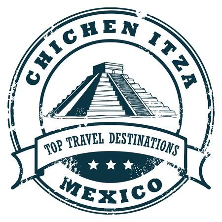 chichen itza: Grunge rubber stamp with the Chichen Itza Illustration