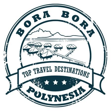 voyage: Grunge sello de caucho con el Bora Bora