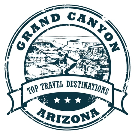canyon: Grunge rubber stamp with the Grand Canyon Illustration