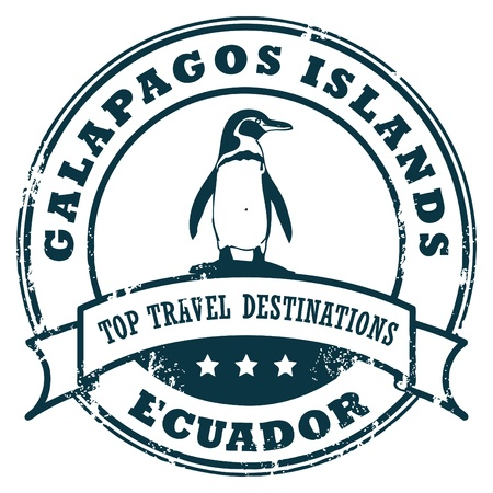 galapagos: Grunge rubber stamp with the Galapagos Island Illustration