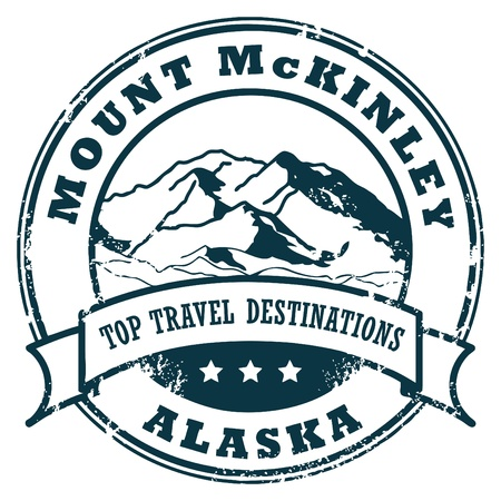 Grunge rubber stamp with the Mount McKinley, Alaska Stock Vector - 14410744