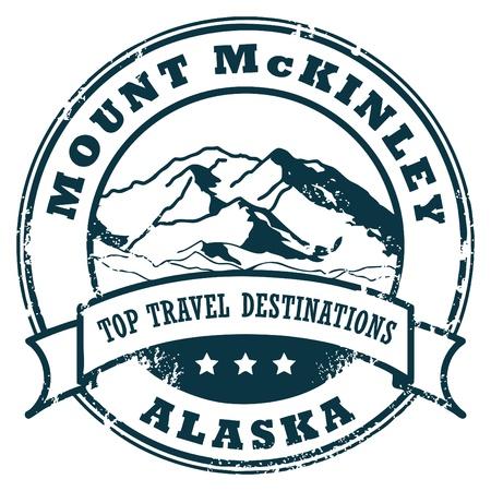 Tampon en caoutchouc grunge avec le mont McKinley, en Alaska