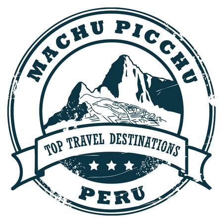 peru architecture: Grunge rubber stamp with Machu Picchu