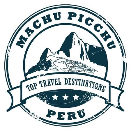 voyage: Grunge sello de goma con Machu Picchu Vectores