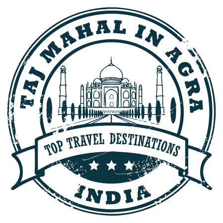 voyage: Grunge rubber stamp with Taj Mahal in Agra Illustration