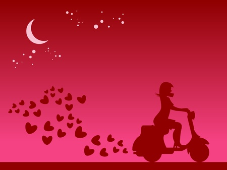 Scooter Girl silhouette Vector