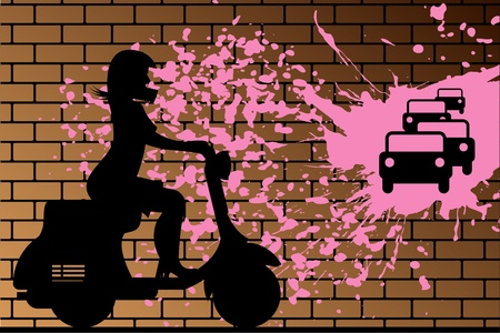 Scooter Girl silhouette against brick wall Vector