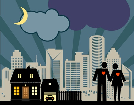 Couple on the night city background Vector