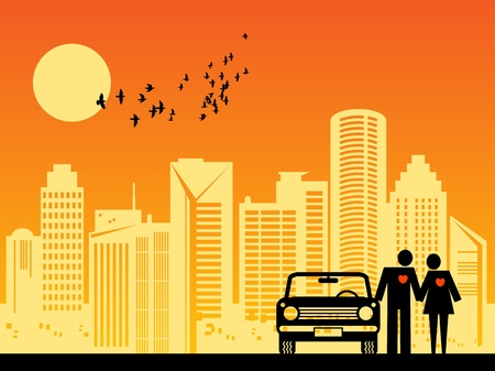 Couple with car on the city background Vector