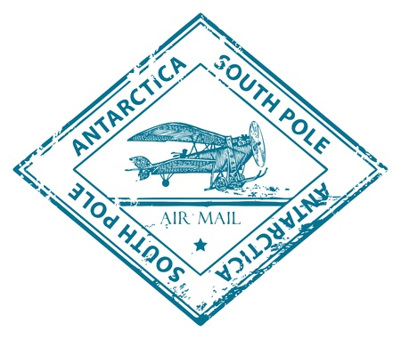 Grunge rubber stamp with retro Airplane and the word Antarctica, South Pole inside Stock Vector - 14459599