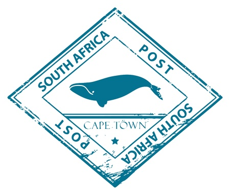 Grunge rubber stamp with whale and the words South Africa inside Stock Vector - 14459595