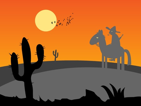 Mexico desert sunset with cactus and horse rider Vector