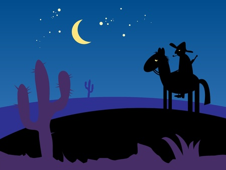 Mexico desert night with cactus and horse rider Vector