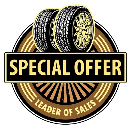 Sticker with the tires and text Special Offer written inside Vector