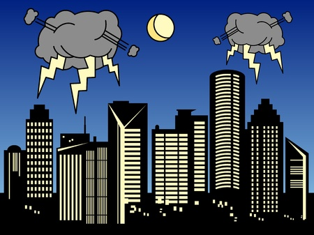 Storm in the city Vector