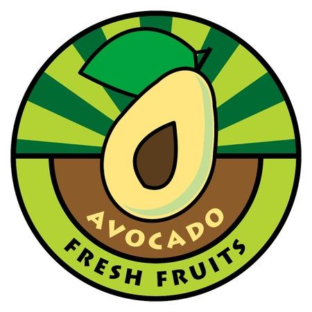 aguacate: Etiqueta de frutas, el aguacate Vectores