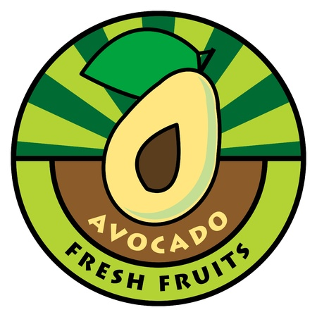 avocado: Fruit label, avocado Illustration