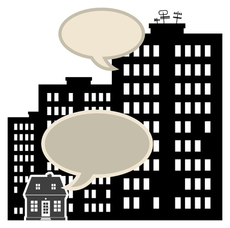 Abstract small and big buildings with speech bubbles Vector