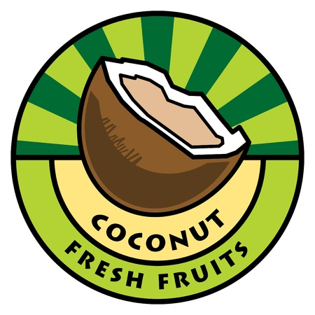 Fruit label, coconut Vector