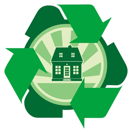 House with recycle sign Stock Vector - 14459573