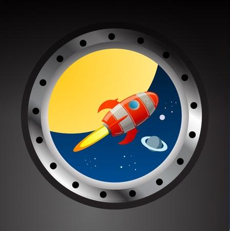 Raket in de ruimte uitzicht vanaf illuminator Vector Illustratie